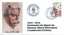 Cachet Temporaire Albert SCHWEITZER Expo KAYSERSBERG 100 Ans Départ Gabon 07 - Albert Schweitzer