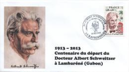 Cachet Temporaire Albert SCHWEITZER Expo KAYSERSBERG 100 Ans Départ Gabon 08 - Albert Schweitzer