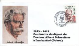 Cachet Temporaire Albert SCHWEITZER Expo KAYSERSBERG 100 Ans Départ Gabon 09 - Albert Schweitzer