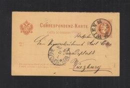 KuK Fragekarte Italienisch 1882 Wien Nach Würzburg - Interi Postali