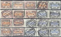 _Tr936: Restje Van 20 Zegels: TR41 Of 43  ... Om Verder Uit Te Zoeken... Stempels... - Spoorwegen