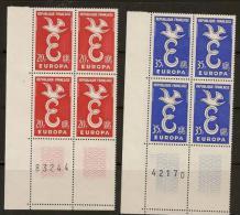 1958 N°1173-1174 Neuf Xx  BLOC DE 4 Avec Bord De Feuille & Coin Serie-Europa - Unused Stamps
