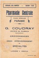 PHARMACIE CENTRALE à PARAME / HORAIRE DES MAREES 1936 (CARTE DOUBLE) - Cartes Marines