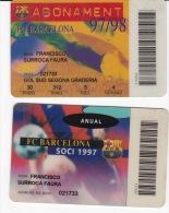 España--Futbol--Barcelona--2-Tarjetas De Abono Socio-- F.C.Barcelona-- 1997 - Tarjetas Telefónicas