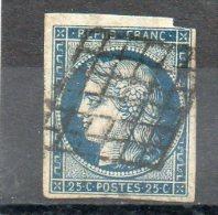 FRANCE    25 C     Année 1850       Y&T: 4    Type Cérès    (sur Fragment Oblitéré) - 1849-1850 Ceres