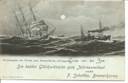 BREMEN: Fischdampfer Ein Wrack, Gruss Von Des See, Carte De Voeux De F. Schottke - Bremerhaven