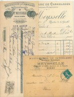 Document Commercial - FACTURE + Enveloppe + Mandat - Manufacture De Carrelages MEYSSELLE à NIMES - France