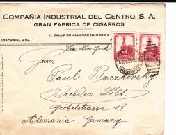 MEXIQUE - 1925 - ENVELOPPE COMMERCIALE (CIGARES) De IRAPUATO Pour DRESDEN (GERMANY) - TIMBRES PERCES EN LIGNES - Mexico