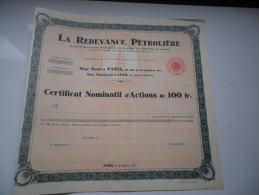 LA REDEVANCE PETROLIERE (1937) - Shareholdings