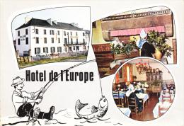 CPSM QUIMPERLE SUD FINISTERE HOTEL RESTAURANT DE L EUROPE HERVE PROPRIETAIRE DESSIN PECHE - Quimperlé