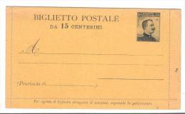 500/56 - REGNO  , Biglietto Postale Nuovo Da 15 Cent - 1900-44 Vittorio Emanuele III