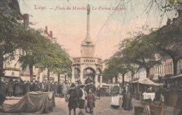 Cpa/pk 1907 Liège Luik Place Du Marché Le Perron Liégeois KLEUR COLOR - Liege
