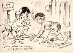 CP.   ILLUSTRATEUR  GERMAINE BOURET. ENFANTS. JEU DE CARTES - Bouret, Germaine