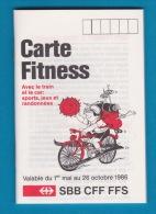 SBB CFF FFS - Carte Fitness 1986 - - Vieux Papiers