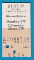 SBB CFF FFS - Billet En Carton Edmonson De Sierre/Siders à Monthey CFF / Collombey Muraz - 21.07.1986 - Chemins De Fer