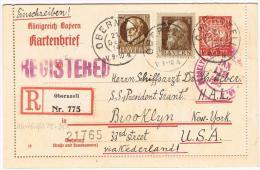 Kartenbrief 10 Pfg. Mit Zfr. Registered Von Obernzell/BY Nach Brooklyn N.Y. 21.Dec.1914 , Interessante Stempel - Bayern