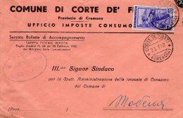 1952 STORIA POSTALE COMUNI ITALIA AL LAVORO BELLA BUSTA COMUNE DI CORTE DE FRATI(CREMONA)--R819 - 1946-.. République
