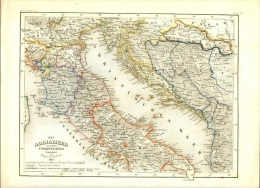 Very Old Map 1852. Das Adria Meer Mit Seiner Uferstaaten Adriatic See With Harbor - Mapas Geográficas