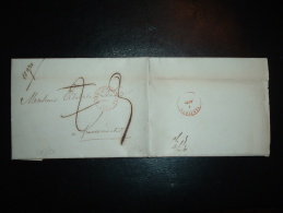 LETTRE (PLI) POUR FRANCOMONTAL TAXE 3 ET TAXE 2 BARREE OBL.ROUGE 1 AOUT 1848 DOLHAIN-L... + VERVIERS - 1830-1849 (Belgique Indépendante)