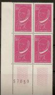 1957 N°1092 Neuf Xx BLOC DE 4 Avec N°au Bord De Feuille Serie-Victor Schoelcher - Unused Stamps