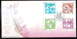 FDC Hong Kong 2005 Children Stamps - Andersen's Fairy Tales Duck Mermaid Fish Cake Fruit Castle Paper-cut - 1997-... Chinese Admnistrative Region