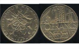 FRANCE 10  Francs MATHIEU  1987  (  Face  A )  SUP - K. 10 Francs