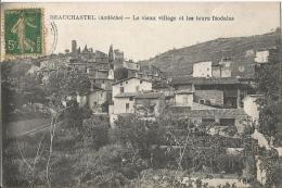 CARTE POSTALE PHOTO ORIGINALE ANCIENNE : BEAUCHASTEL ; LE VIEUX VILLAGE ET LES TOURS FEODALES ; ARDECHE (07) - Sonstige Gemeinden