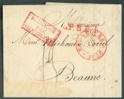 LAC De BRUXELLES Le 20 Janvier 1836 + Griffes L.P.B.2.R. Et BELGIQUE PAR VALENCIENNES Vers Beaune; Port De 13 Décimes. - 1830-1849 (Belgique Indépendante)