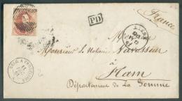 N°12 - Médaillon 40 Centimes Rouge, Obl. P.73 Sur Enveloppe De LIEGE Le 11-12-1861 Vers Ham-  Verso : Dc Chemin De Fer D - 1858-1862 Medallions (9/12)