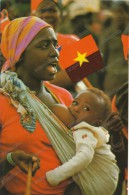 AFRICA, ANGOLA,MOTHER AND CHILD,FLAG OF ANGOLA, Old Photo Postcard - Ethniques & Cultures