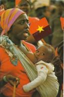 AFRICA, ANGOLA,MOTHER AND CHILD,FLAG OF ANGOLA, Old Photo Postcard - Ethnics