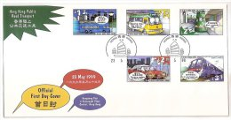 FDC Hong Kong 1999 Public Road Transport Stamps Bus Tram Train Taxi Airport Express Plane - 1997-... Chinese Admnistrative Region