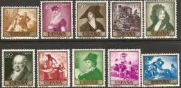 1958-ED. 1210a19-SERIE COMPLETA-PINTURAS DE GOYA-NUEVO - 1931-Today: 2nd Rep - ... Juan Carlos I