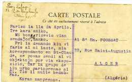 CARTE ECRITE EN ESPERANTO PARIS  STATUE DE BALZAC - Esperanto