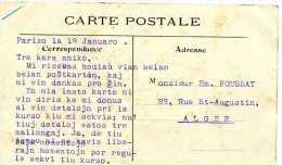 CARTE ECRITE EN ESPERANTO PARIS LE PONT ROYAL ET LE MINISTERE DES COLONIES - Esperanto