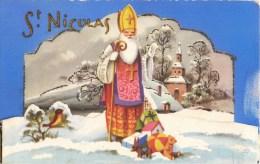 BELLE CPA A SYSTEME : ST-NICOLAS PERE-NOËL RELIEF FANTAISIE SANTA-CLAUS HAPPY-CHRISTMAS - Kerstmis