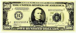 """500 Dollars  """"THE UNITED STATES OF AMERICA"""" Très Grand Billet Fictif - Collections"""