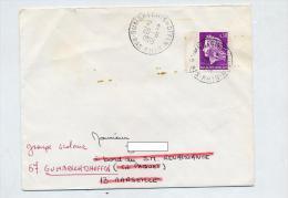 Lettre Cachet Gumbrectshoffen Au Dos Flamme Marseille N° Arrondissement Couronne Envers Curiosité - Postmark Collection (Covers)