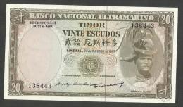 [NC] TIMOR - BANCO NACIONAL ULTRAMARINO - 20 ESCUDOS (1967) - Timor