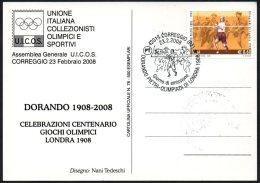 ATHLETICS / OLYMPIC GAMES - ITALIA CORREGGIO 2008 - DORANDO PIETRI - OLIMPIADI DI LONDRA 1908 - CARTOLINA UICOS - Ete 1908: Londres