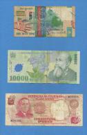 Lotto Di N.3  Banconote Da  200 Tenge KAZAKISTAN  / 10.000 Lei ROMANIA  /  50 Piso PILIPINAS. - Monete & Banconote