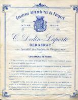 24. DORDOGNE.BERGERAC.CONSERVES  ALIMENTAIRES DU PERIGORD ( TARIF ) C. DEDIN-LAPORTE. - Alimentaire
