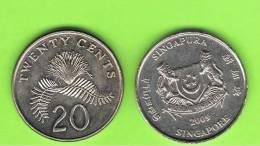 SINGAPUR - SINGAPORE -  20 Cents KM101  -  Ver Años - Look Years - Singapur