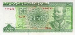 CUBA BANKNOTE 5 PESOS PICK 116 UNC 2011 - Cuba