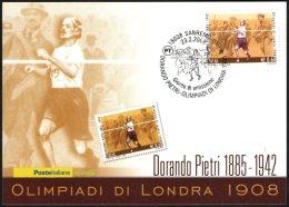 ATHLETICS / OLYMPIC GAMES - ITALIA SANREMO 2008 - DORANDO PIETRI - OLIMPIADI DI LONDRA 1908 - CARTOLINA POSTE ITALIANE - Verano 1908: Londres
