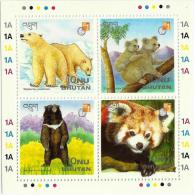 Bhutan 1997 HK97 Stamp Exhibition Polar Bear Koala Black Bear Red Panda - Bhutan