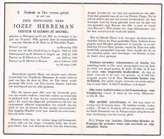 Doodsprentje Pastoor Jozef Herreman - Waregem 1901 + Izegem 1956 - Izegem - Torhout - Kuurne - Images Religieuses