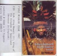 "RRR Télécarte Du SWAZILAND  ""KING MSWATI III "" E20 NSB   TTB   Avec Son Ticket De Garantie **RARE - Swaziland"