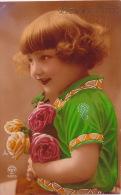 """ENFANTS - LITTLE GIRL - MAEDCHEN - Jolie Carte Fantaisie Fillette Et Fleurs """"Bonne Fête"""" - Portraits"""