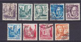 Württemberg-Hohenzollern 1947-48 Mi. 5, 7-8, 10, 18-19, 23, 29, 33, Persönlichkeiten, Schiller, Hölderlin Etc. - Zone Française